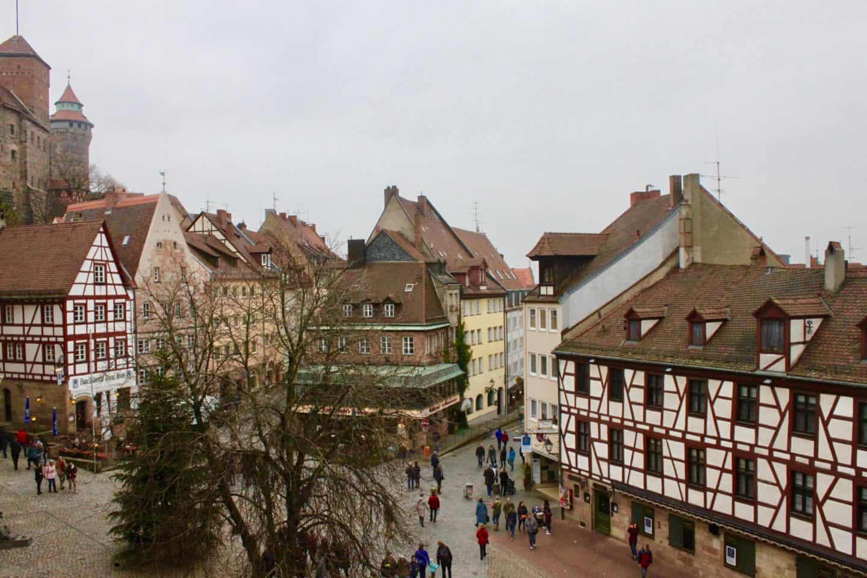Nuremberg's medieval town centre at night