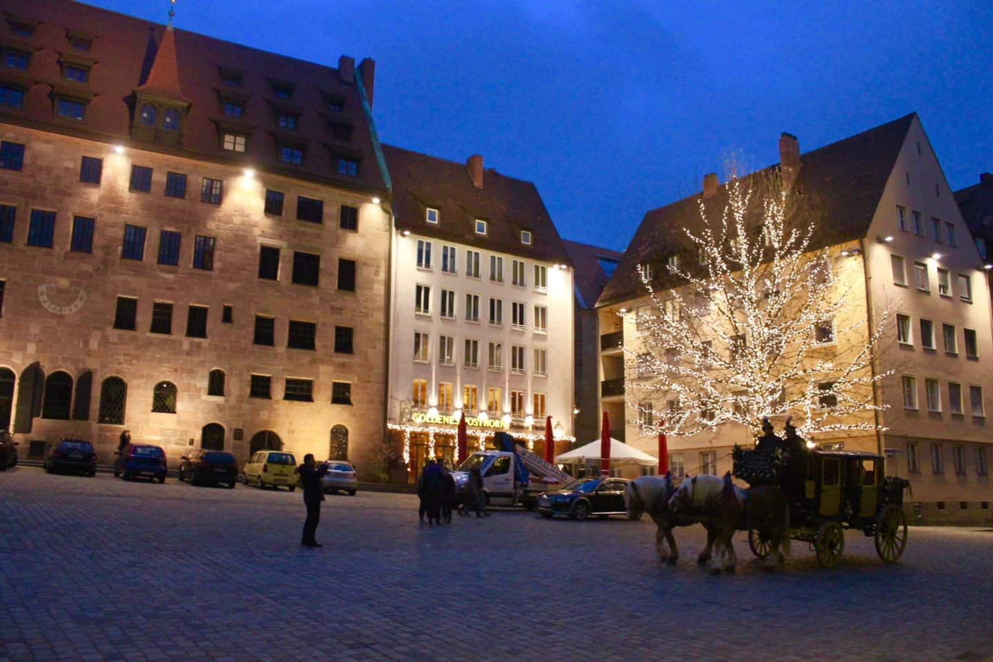 Nuremberg's medieval town centre at night