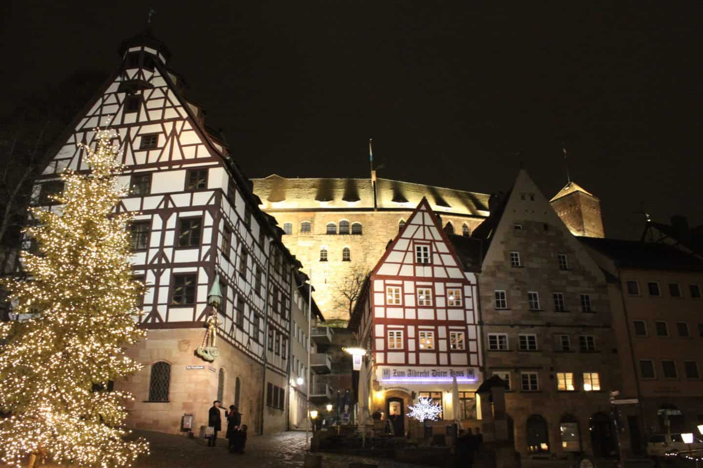 Nuremberg medieval town centre at night