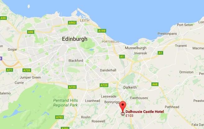 The location of Dalhousie Castle to Edinburgh