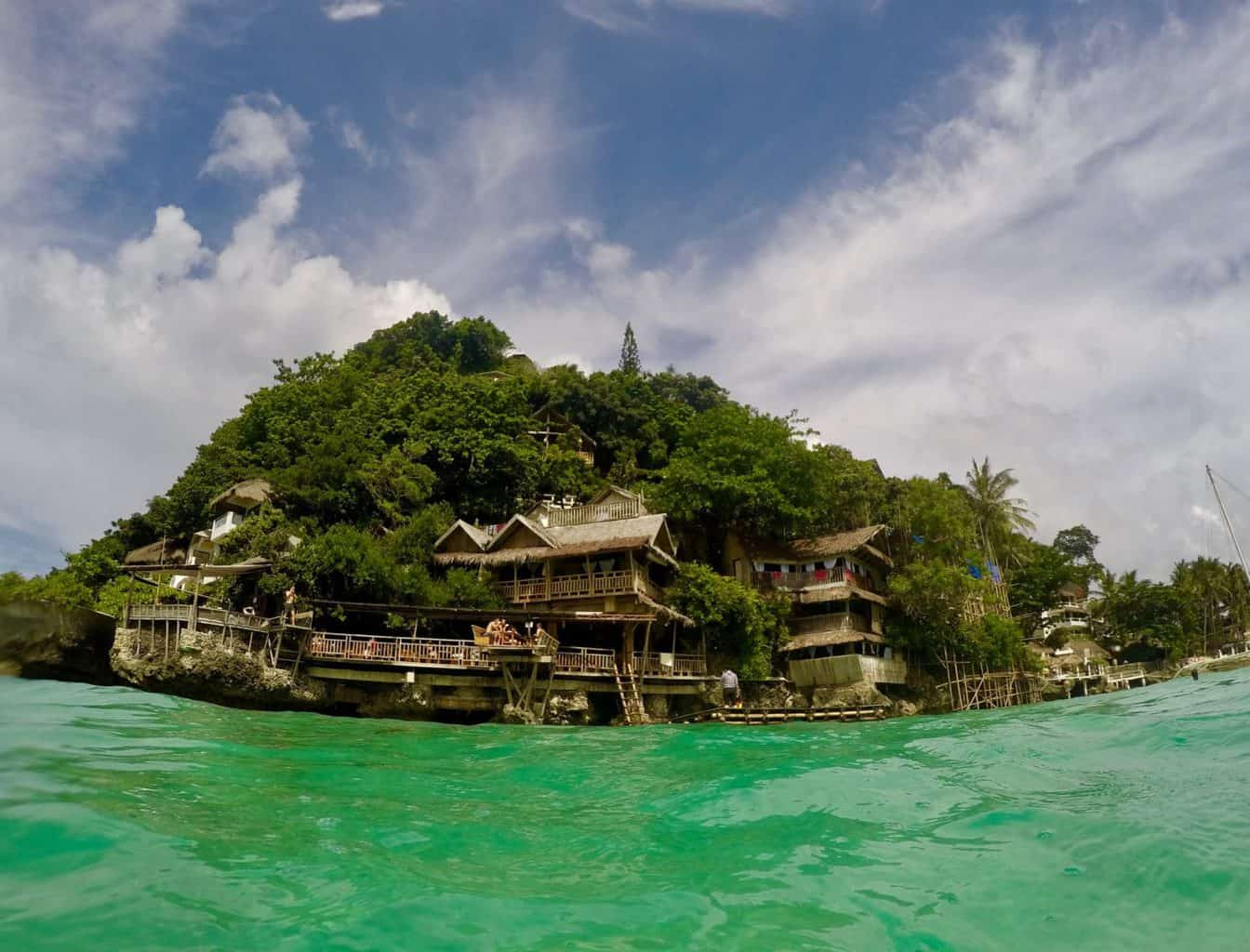Swimming in the sea in Boracay.