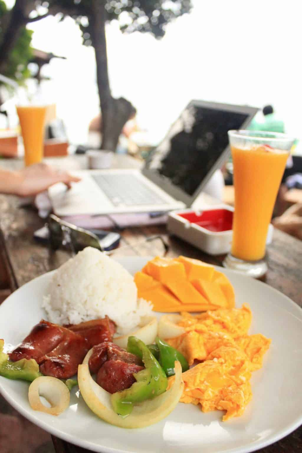 Typical Filipino breakfast in Boracay