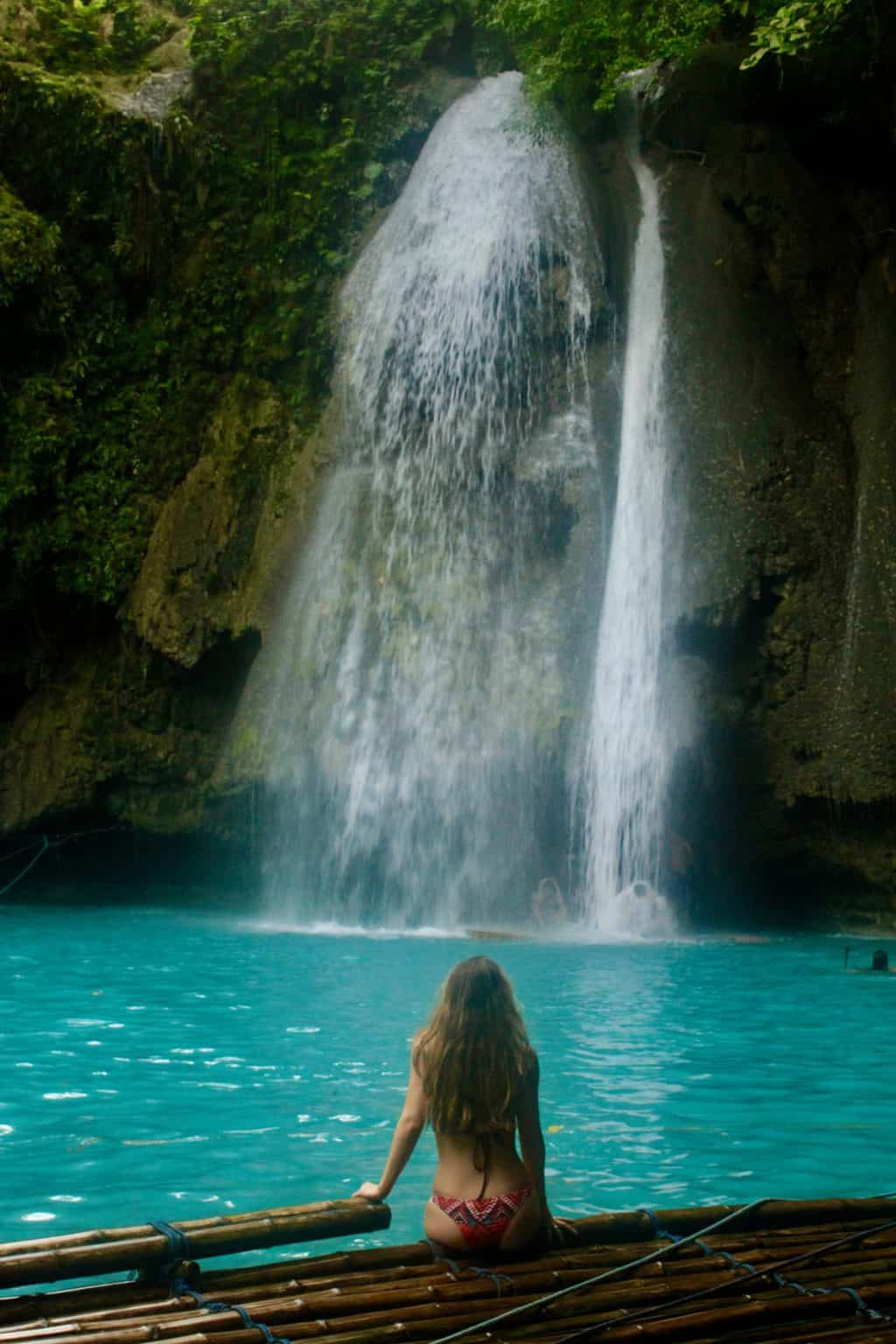 Sitting at Kawasan Falls Cebu