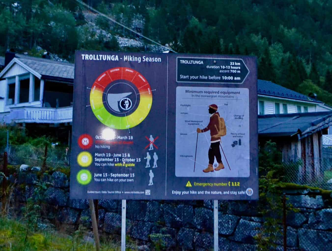 Signage at the start of the Trolltunga hike