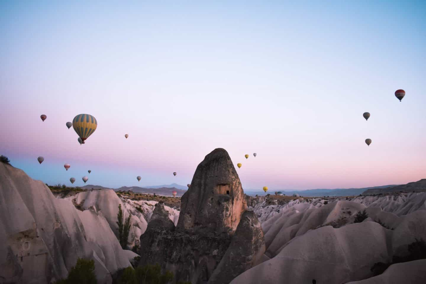hot air balloon ride over Cappadocia at sunrise