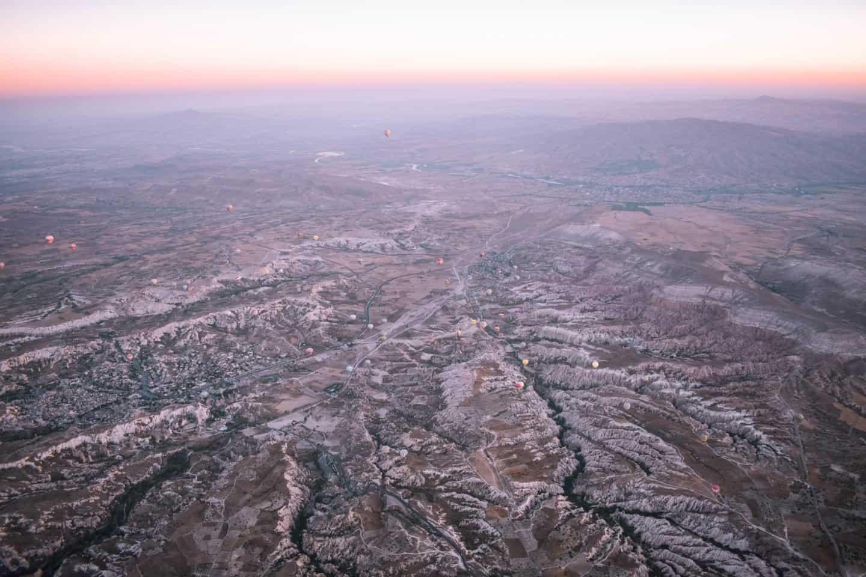 hot air balloon ride over Cappadocia at sunrise