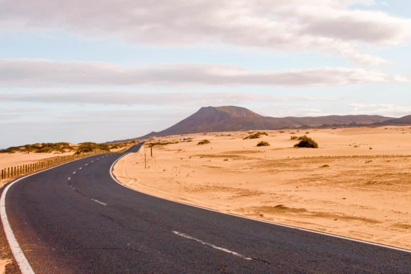 Driving through the Corralejo National Park