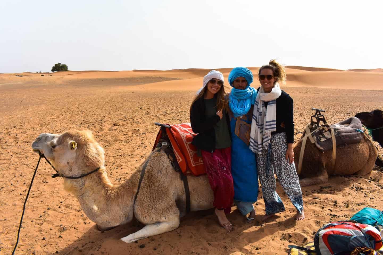 sleeping in a camp in the Sahara Desert