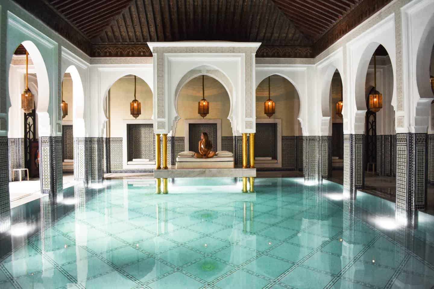 the indoor swimming pool at La Mamounia