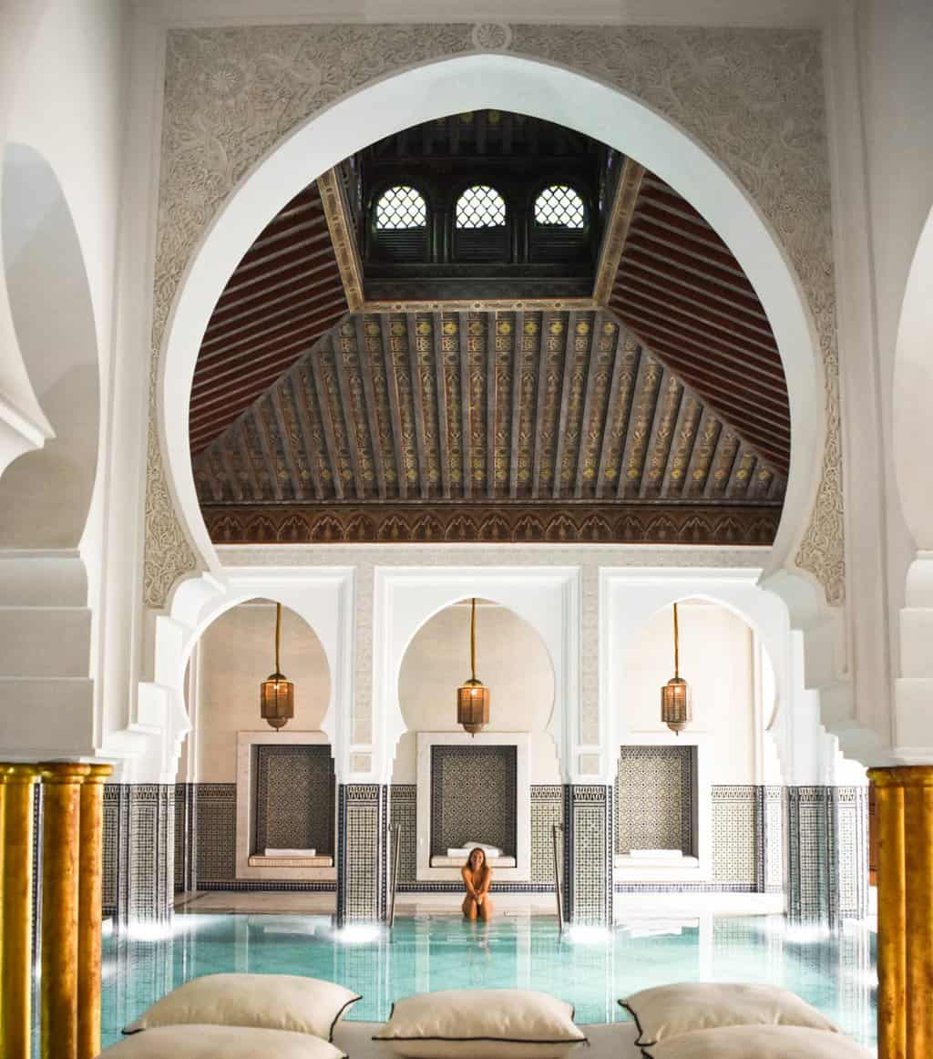 The beautiful indoor pool at La Mamounia