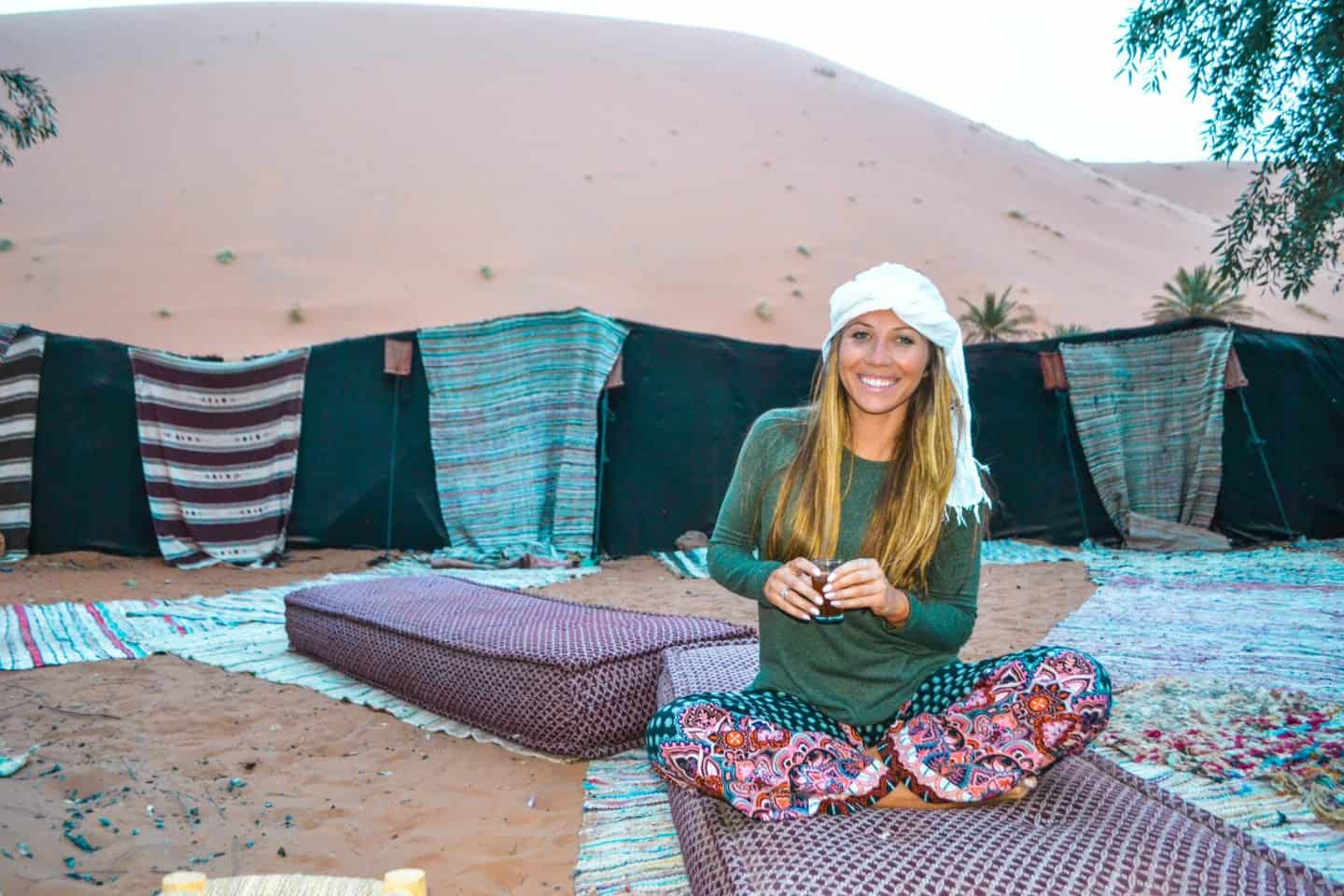 sleeping in a camp in the Sahara Desert