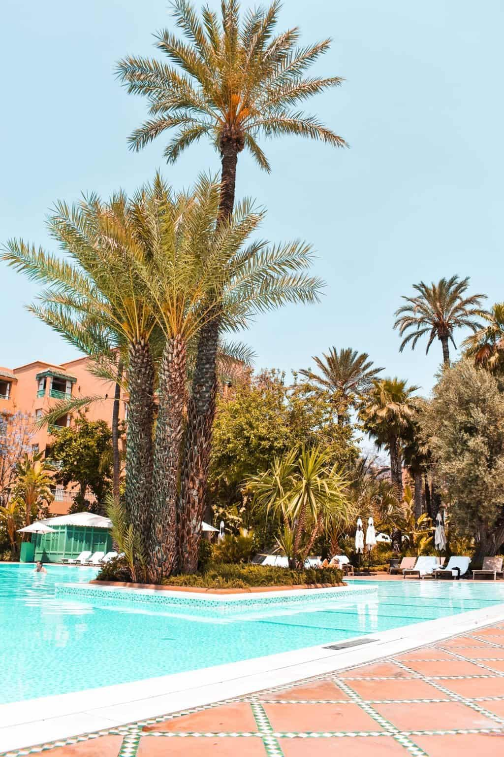 the outdoor swimming pool at La Mamounia