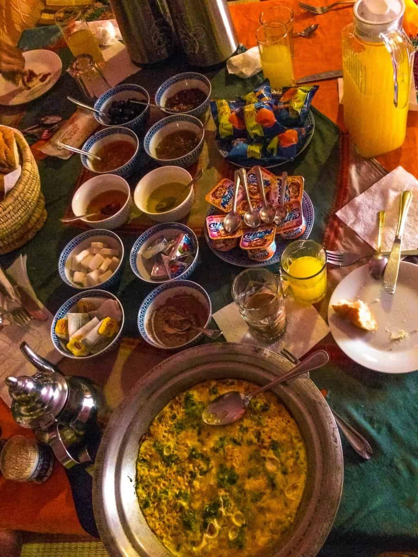 breakfast in our desert camp