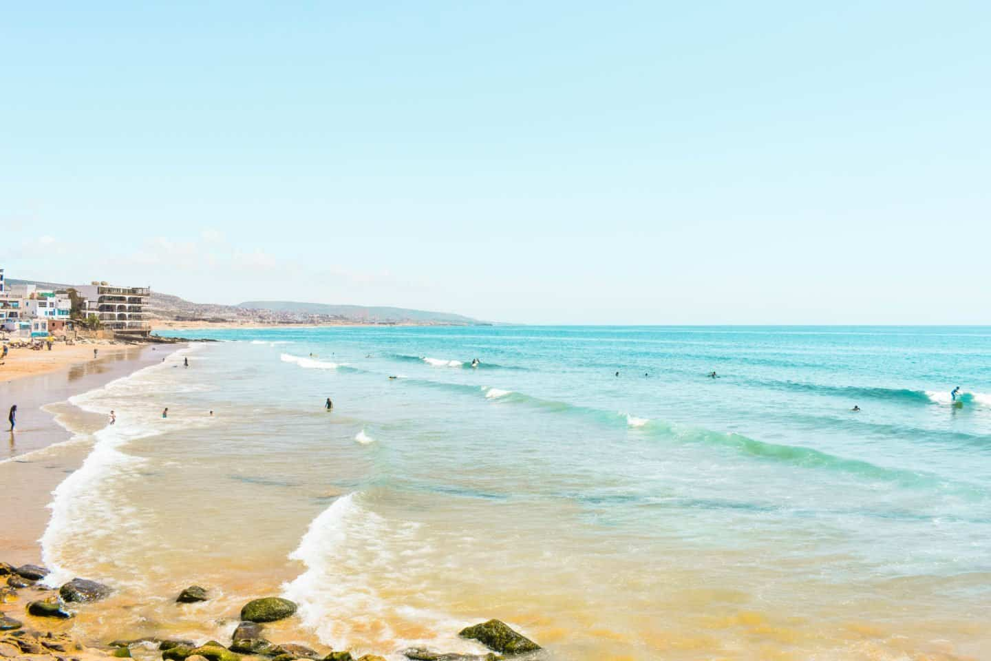 Surfing at Taghazout's main beach