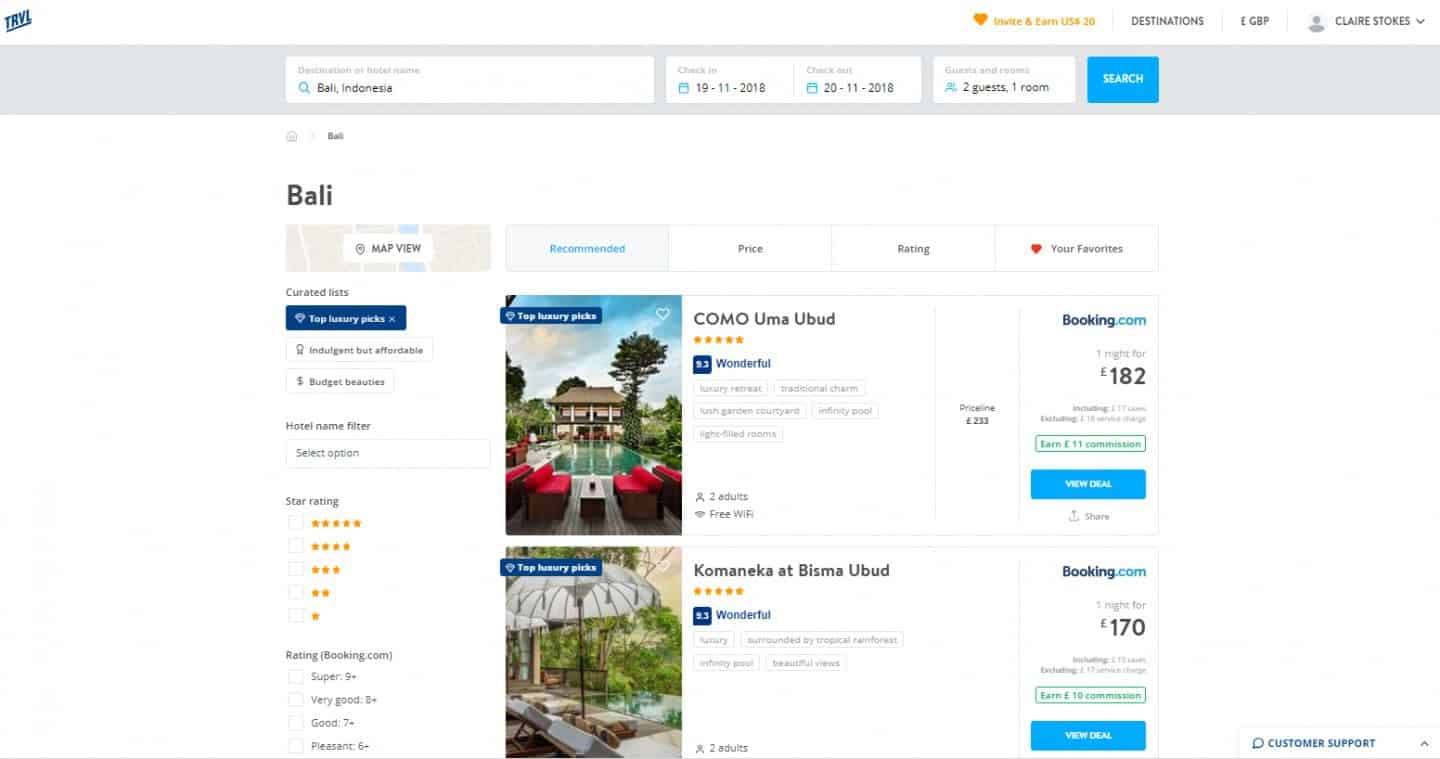 TRVL Travel Booking Platform Putting Value Back into Personal Recommendations