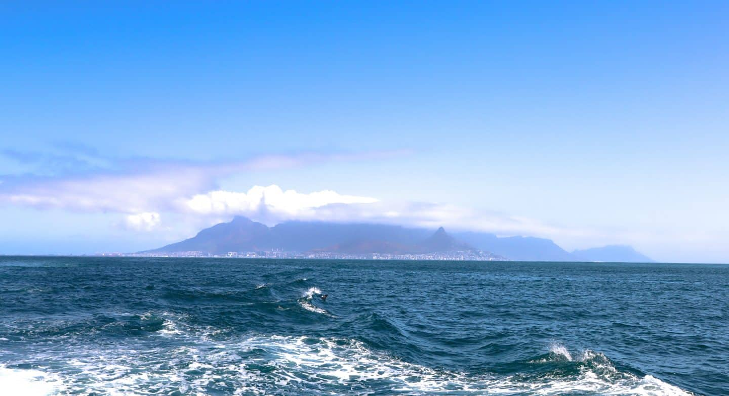 The view from the ferry heading to Robben Island from Cape Town