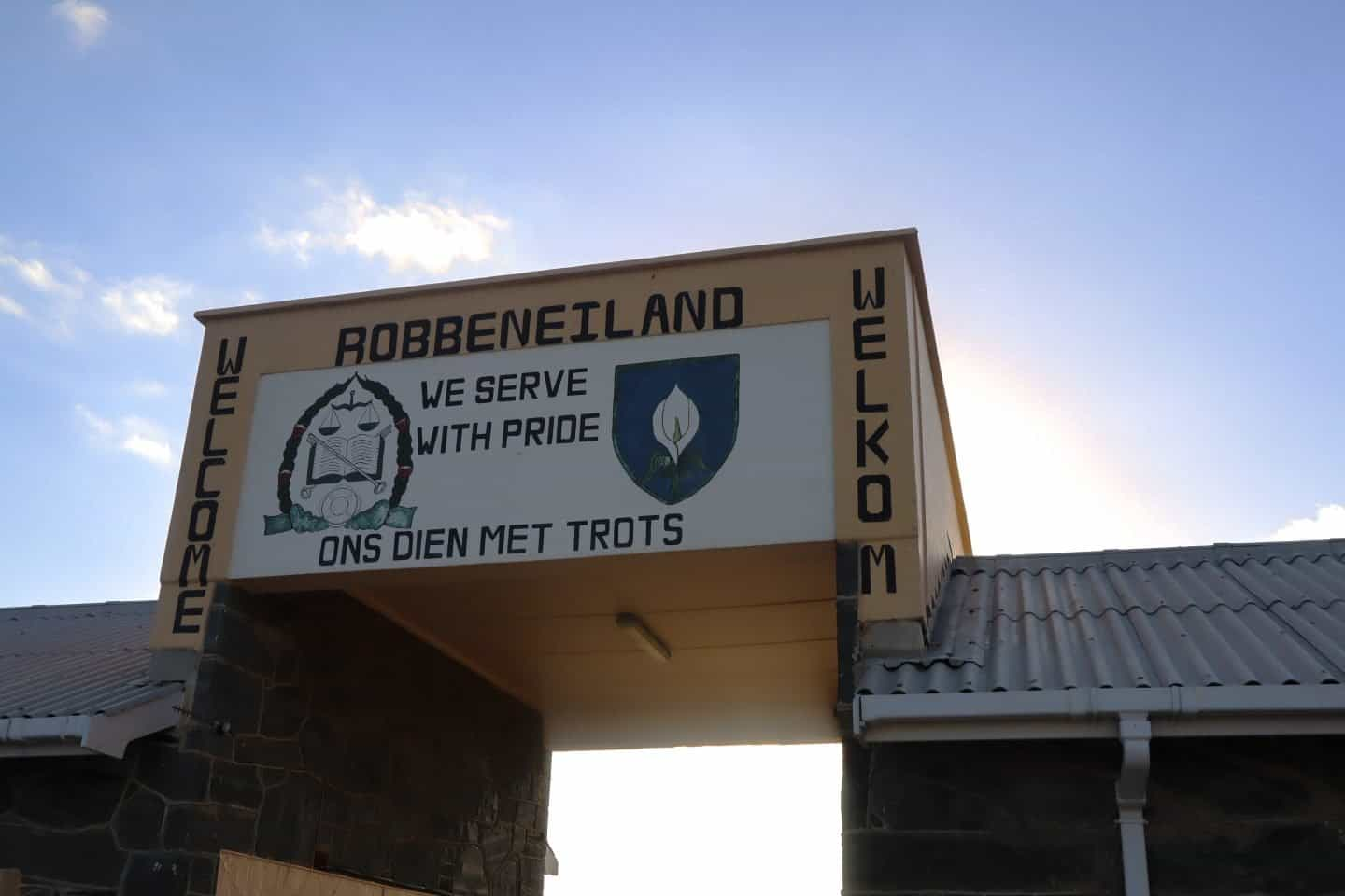 Entry sign at Robben Island
