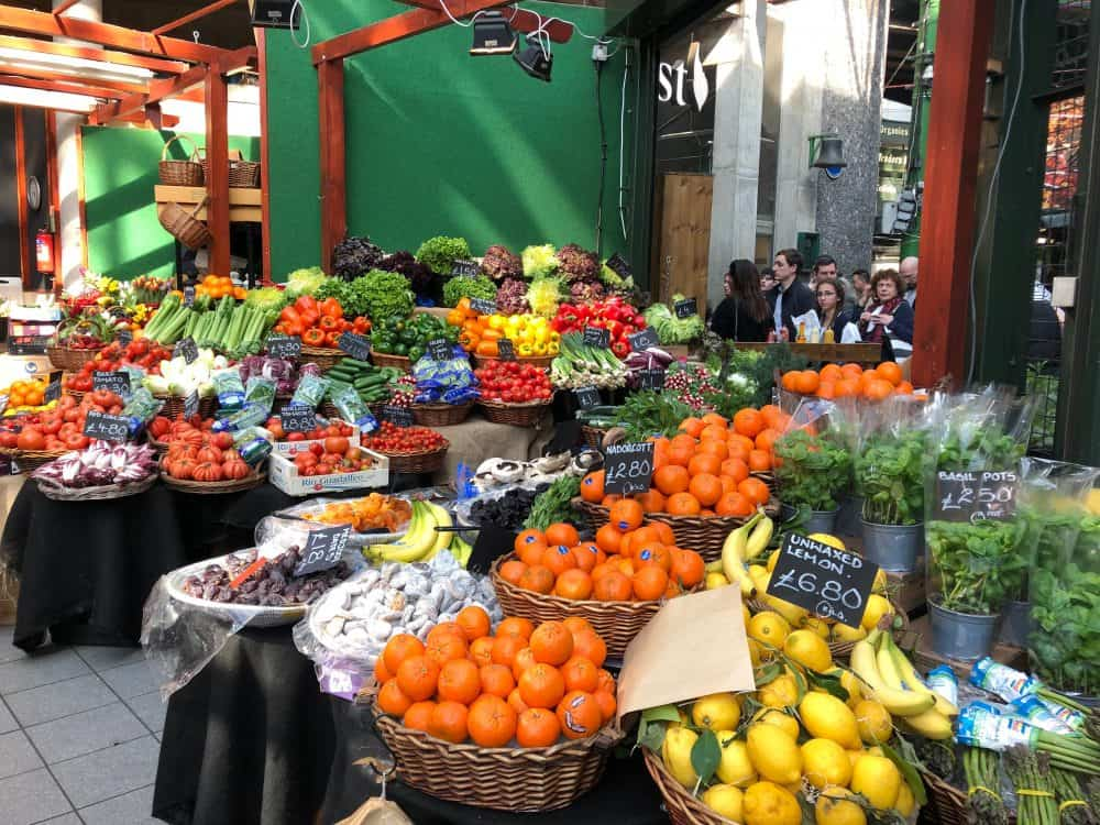 buying fresh produce at Borough Market, London Bridge