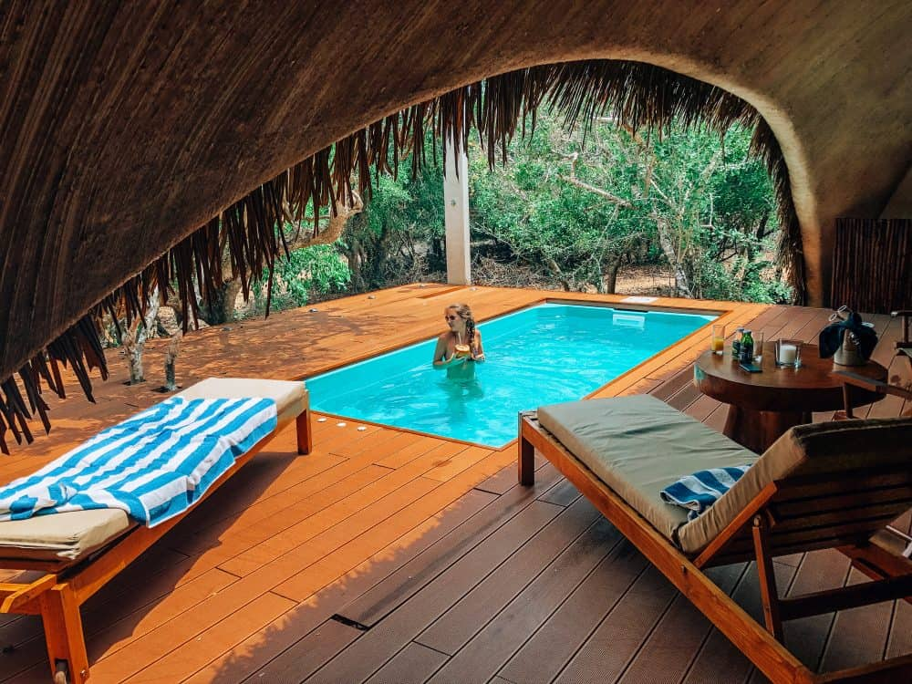 Enjoying a drink in the private pool at Chena Huts, Yala National Park