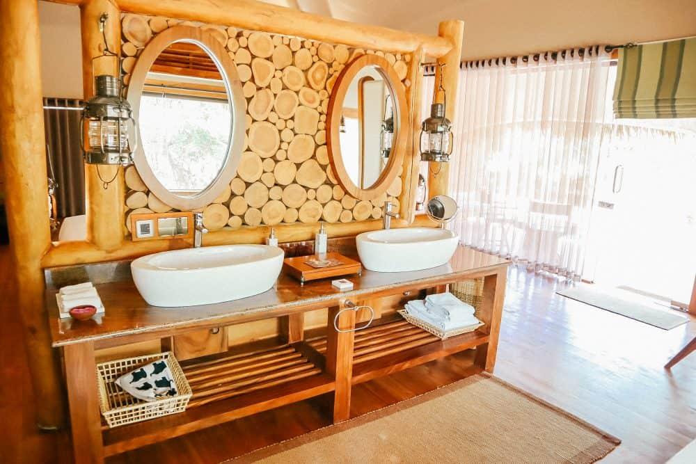 The bathroom area at Chena Huts, Yala National Park