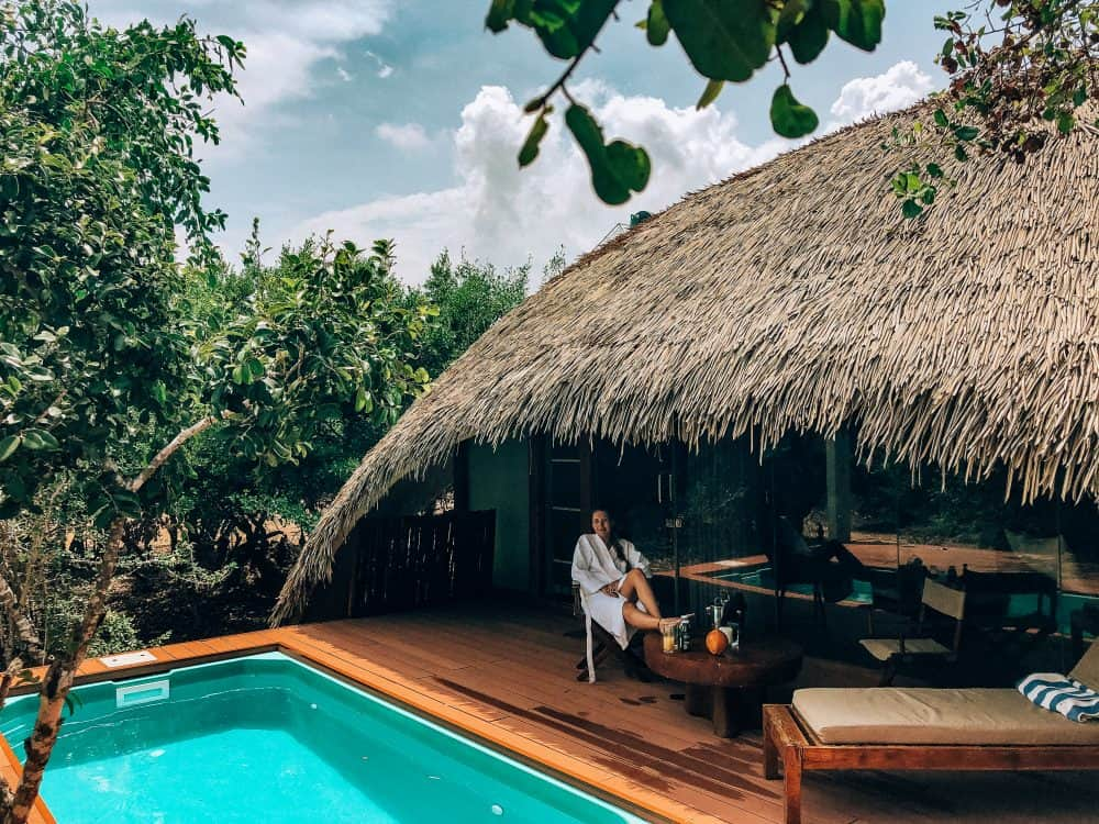 Relaxing by the private pool at Chena Huts, Yala National Park