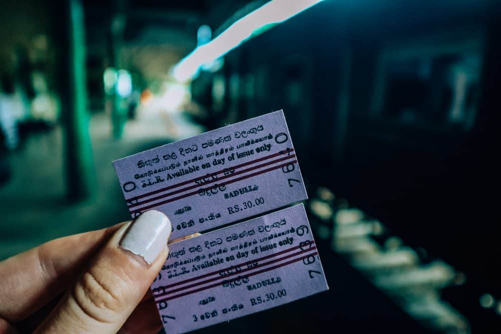 tickets for the train from Ella to Badulla