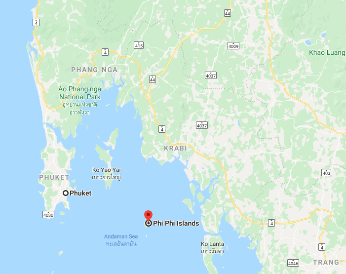 Location of the Phi Phi Islands