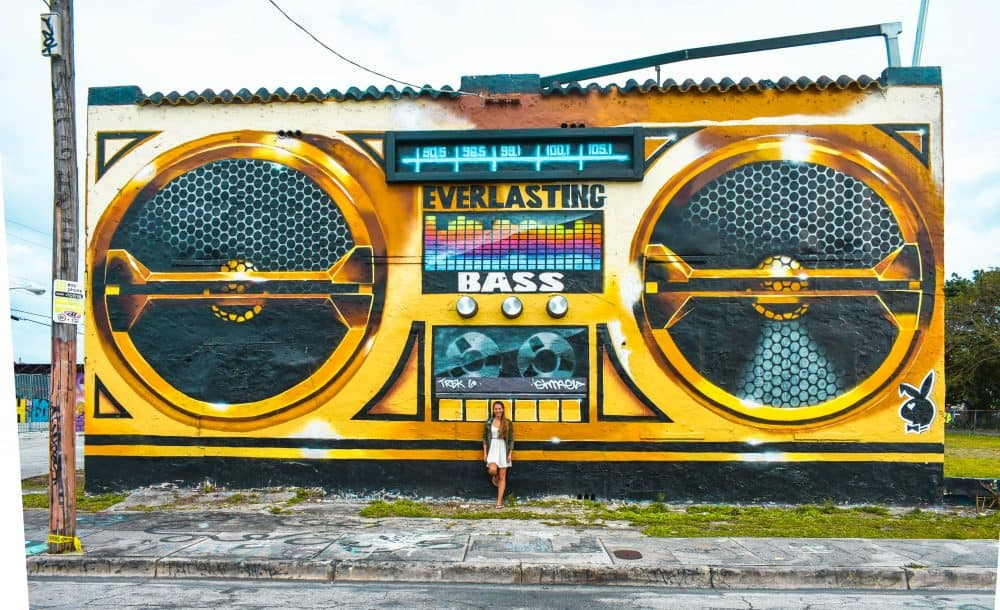 A giant boom box art work in Wynwood, Miami