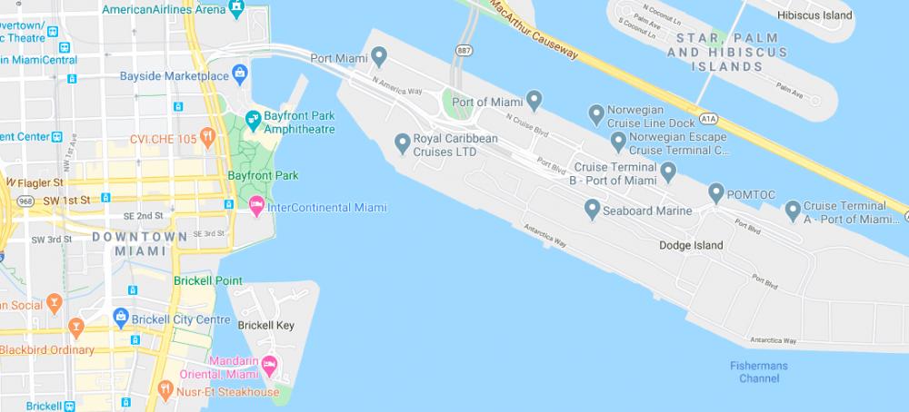 Map of PortMiami and Downtown Miami