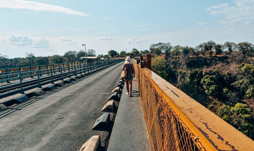 Walking across the Victoria Falls Bridge