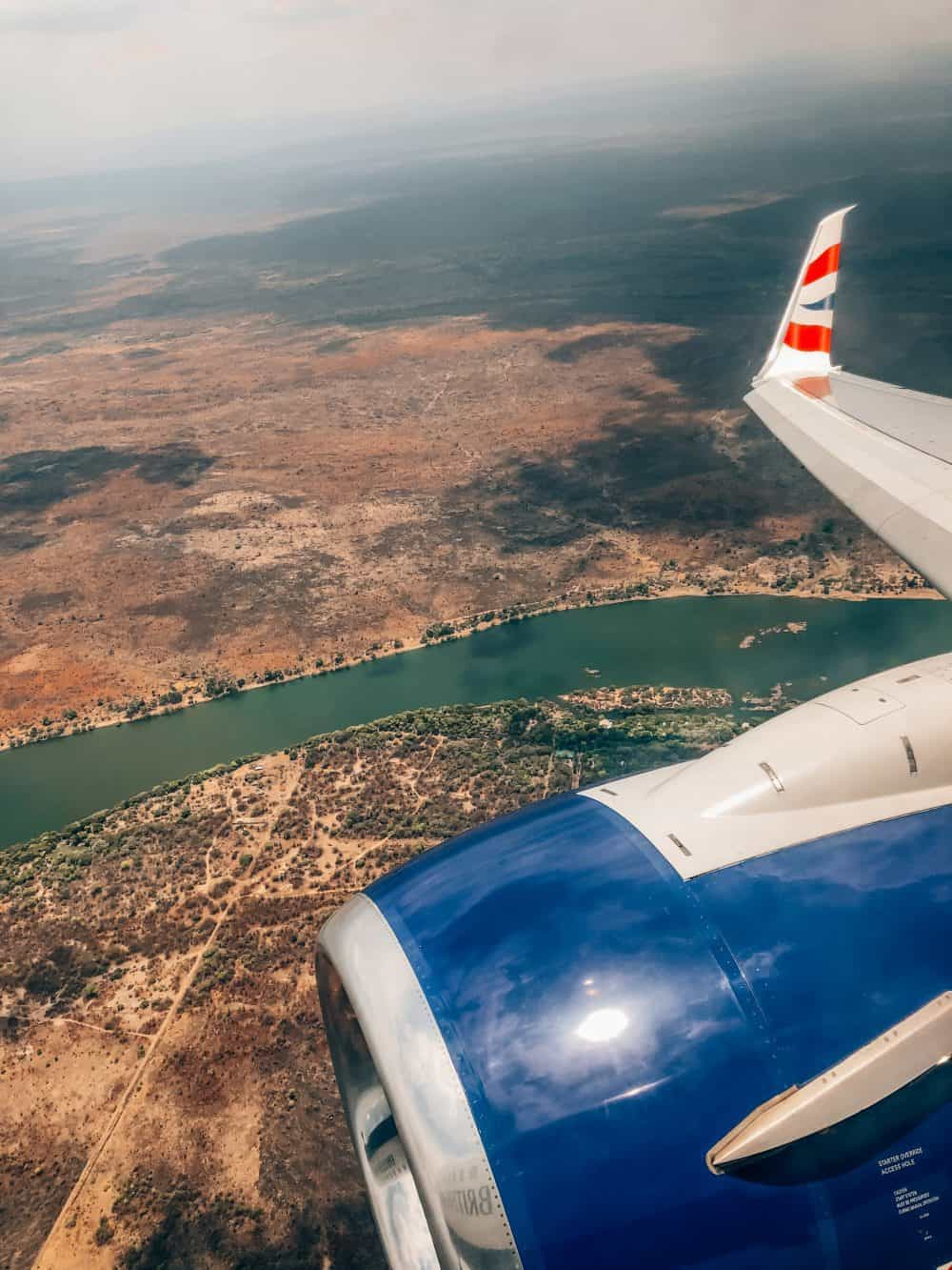 Flying into Livingstone airport from Johannesburg