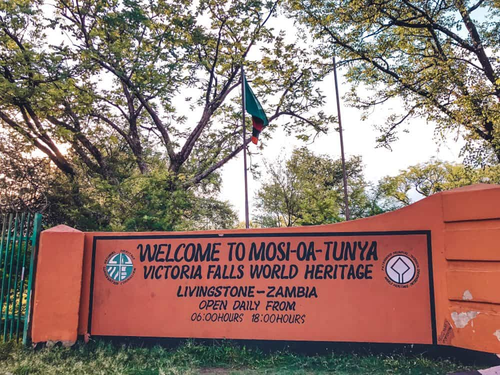 Entry to Mosi Oa Tunya National Park on the Zambia side