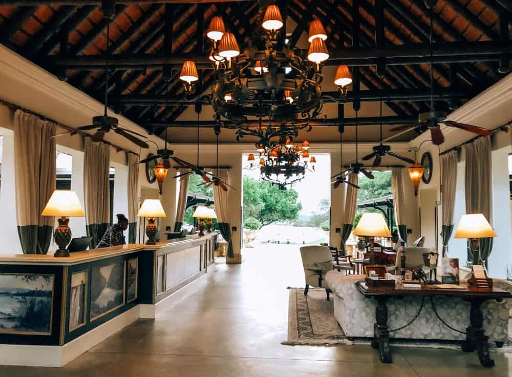 The magnificent lobby at the Royal Livingstone Hotel in Zambia