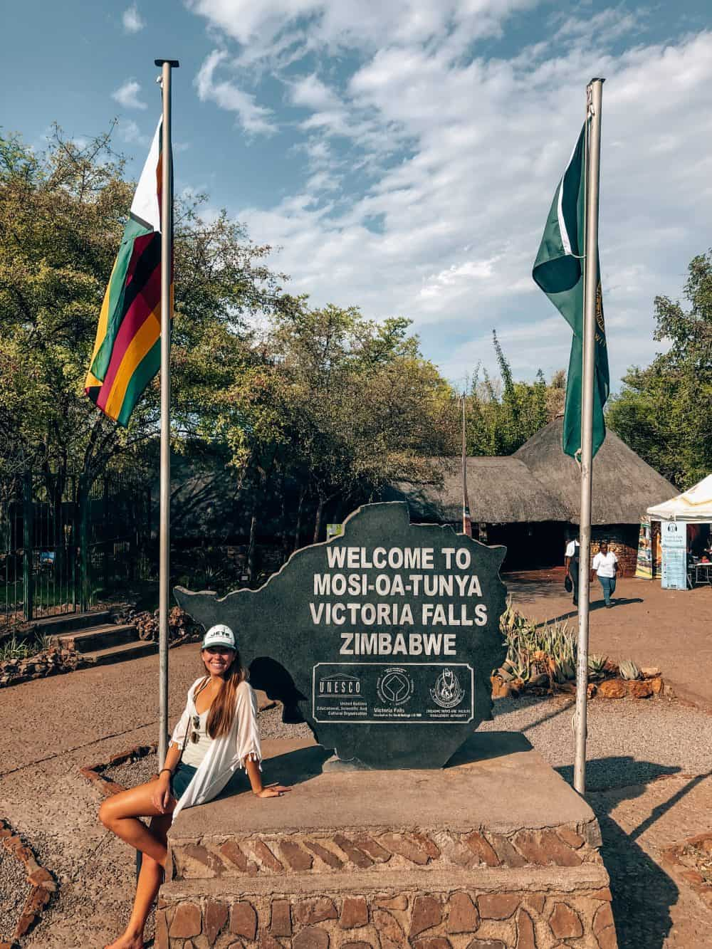 Entrance sign at the Victoria Falls National Park in Zimbabwe