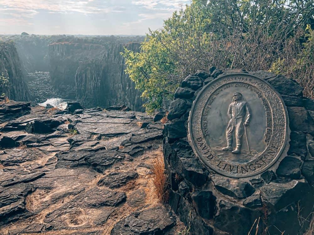 David Livingstone plaque on Livingstone Island, Zambia