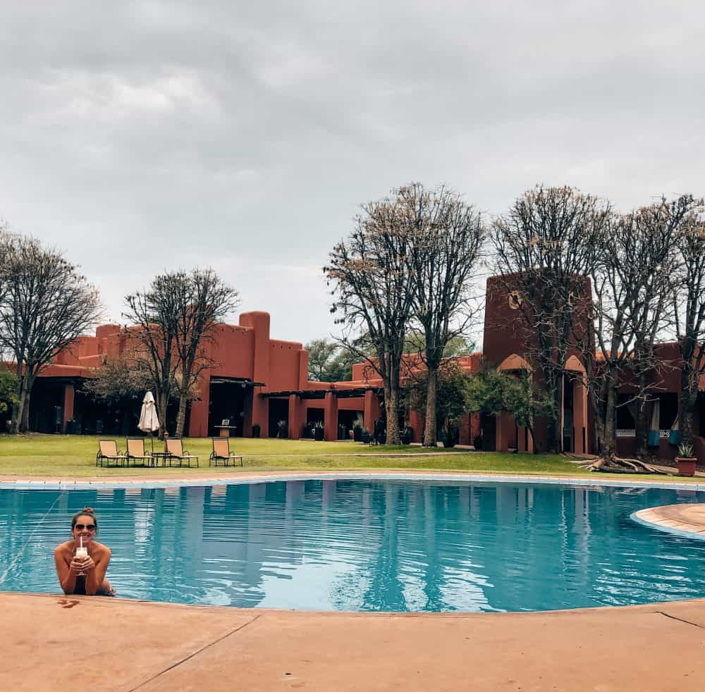 Poolside drink at the Avani Victoria Falls Hotel