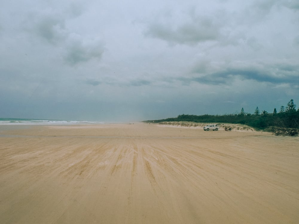 Driving on the sand in Fraser Island