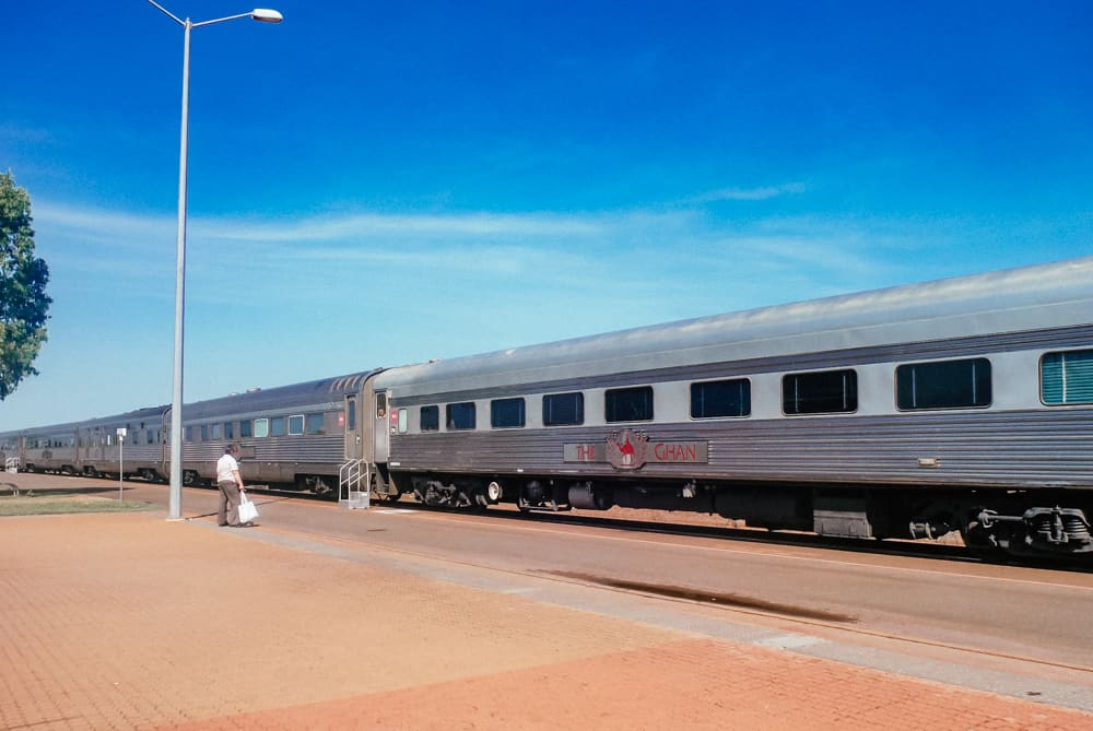 The exterior of the Ghan train