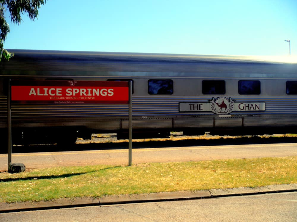 The Ghan train outside Alice Springs station in the Australian Outback