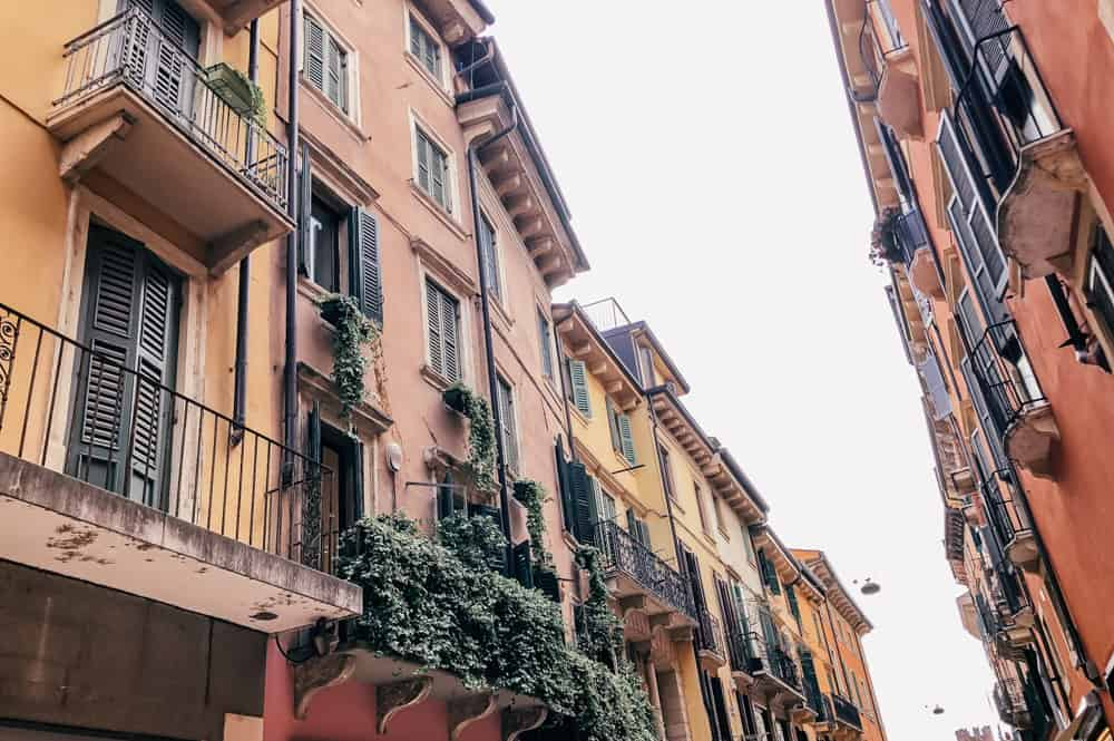 The charming facades of the buildings in Verona