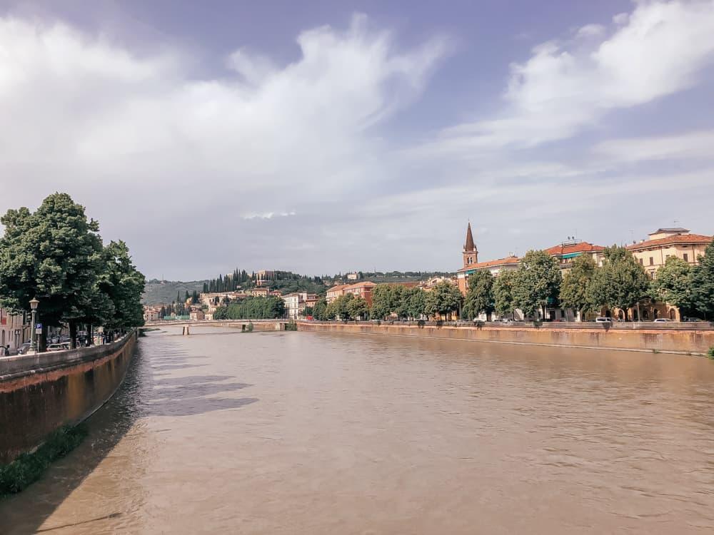 Views across Verona from the Ponte Pietra