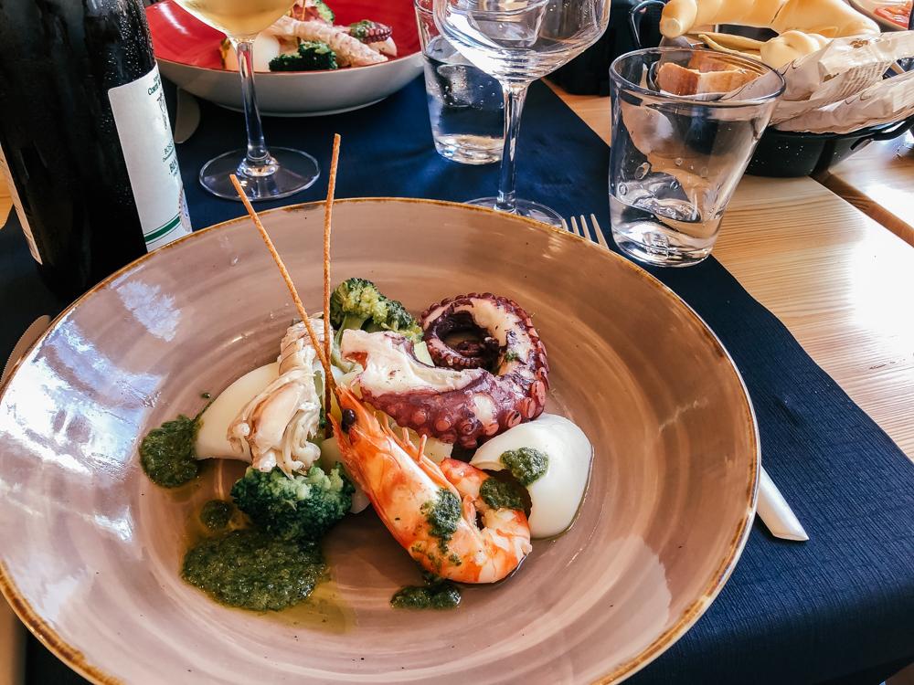 Seafood dishes in Ravenna, Emilia Romagna