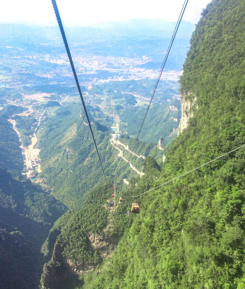 The cable car to Tianmen Mountain in Zhangjiajie