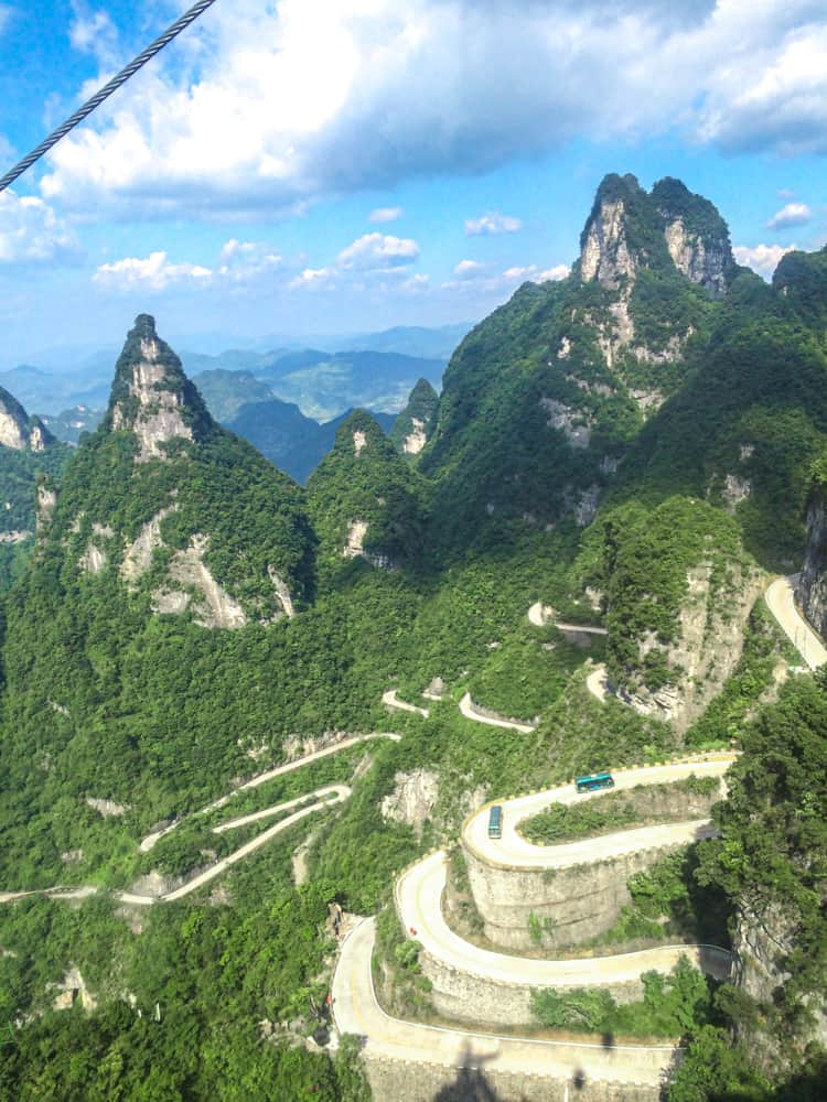The road to Tianmen Mountain
