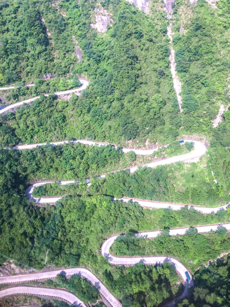 99 hairpin road to Tianmen Mountain in Zhangjiajie