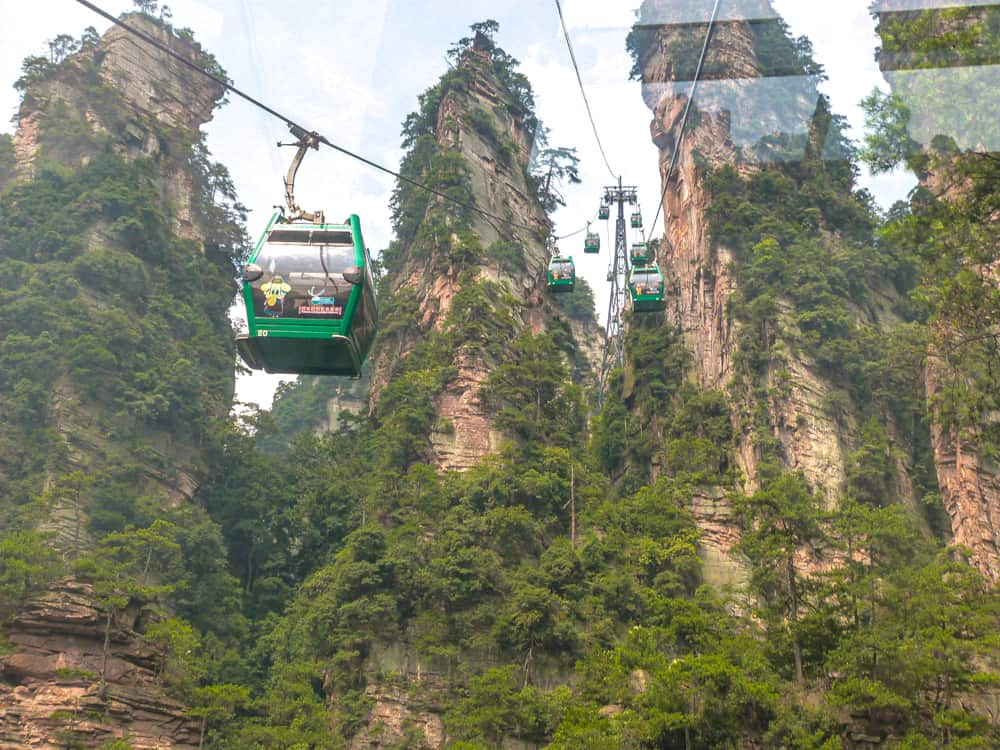 The cable car to the top of Tianmen Mountain
