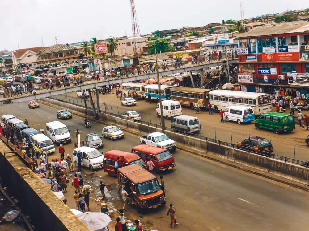 The outside of Makola Market in Accra