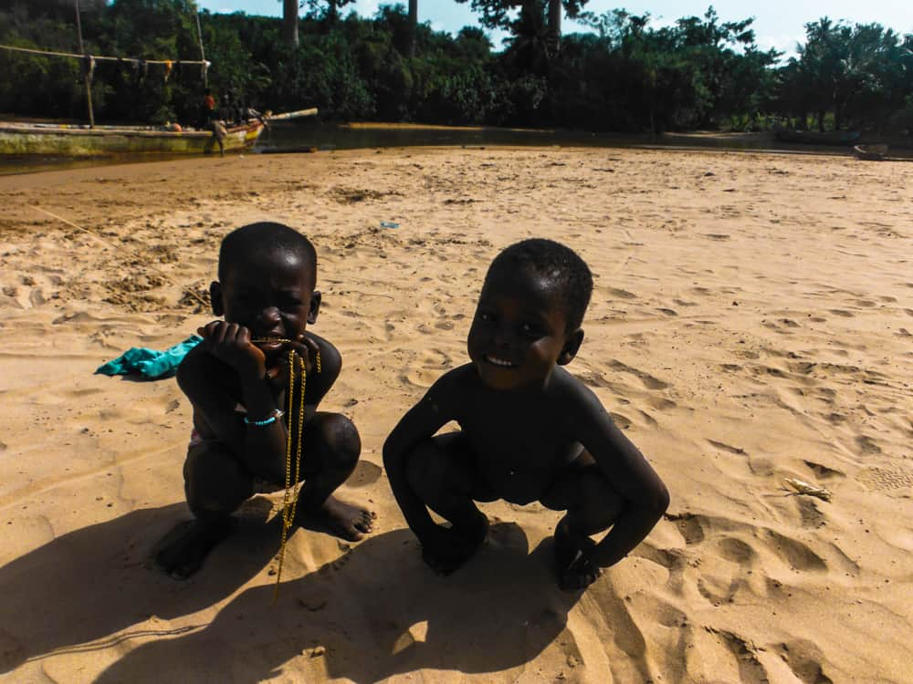 Friendly local children in Busua Beach, Ghana