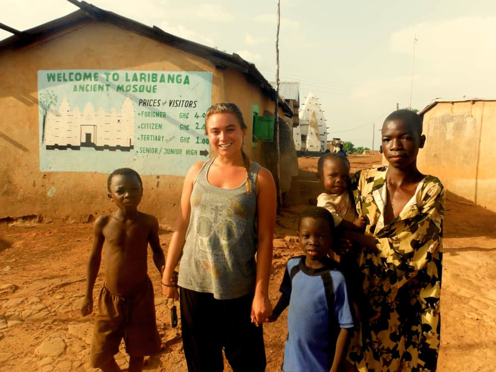 Making friends outside the Larabanga Mosque in northern Ghana