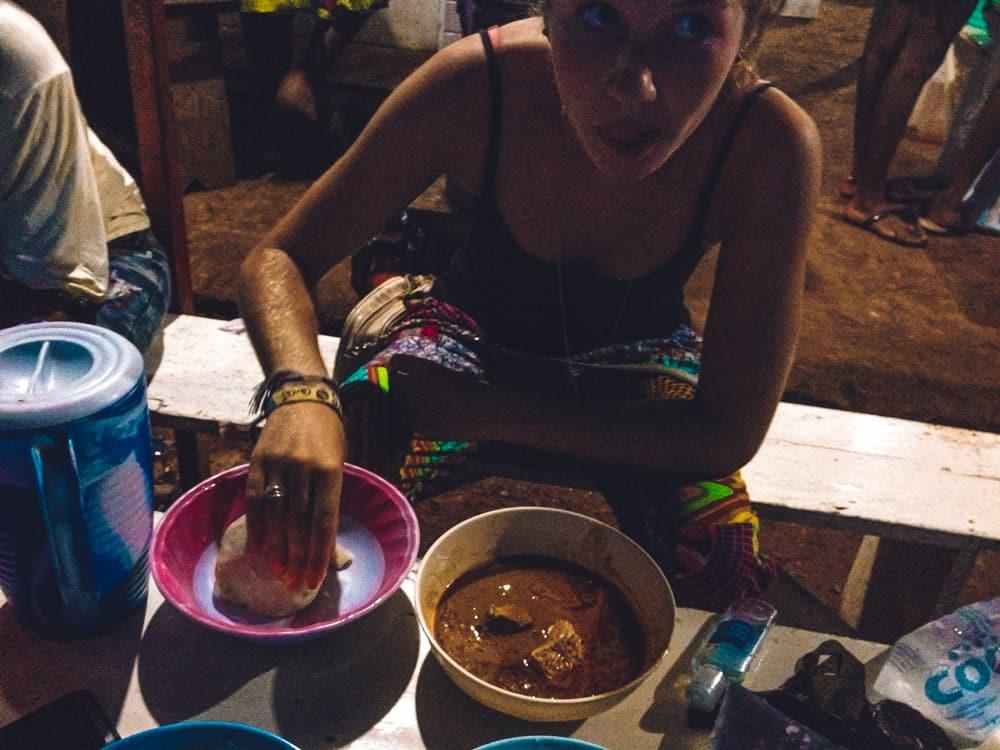 Enjoying Ghanaian cuisine